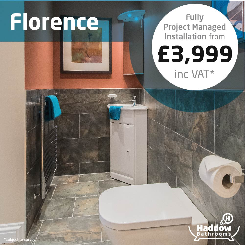 Florence bathroom package with white Haddow Bathrooms logo bottom right. Image has a white and blue roundel that reads 'Fully project managed installation from £3,999' in grey and black text.