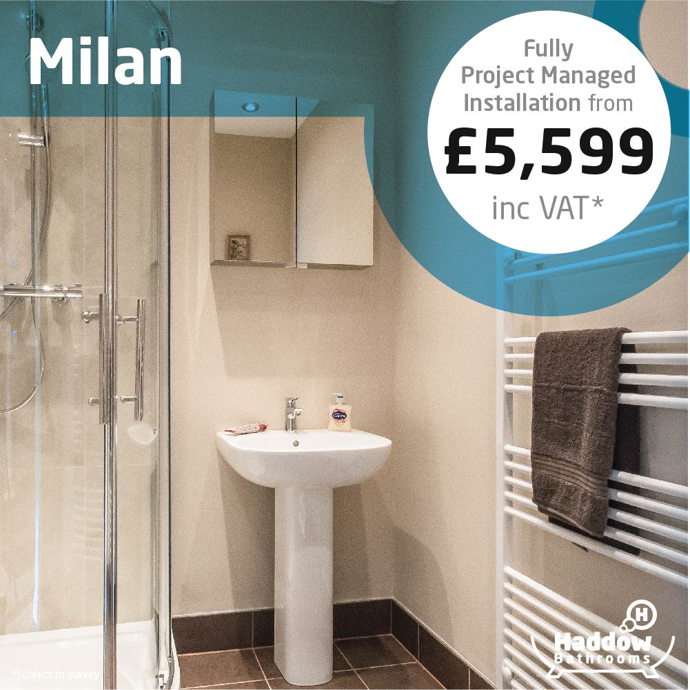 Milan bathroom package with white Haddow Bathrooms logo bottom right. Image has a white and blue roundel that reads 'Fully project managed installation from £5,599' in grey and black text.
