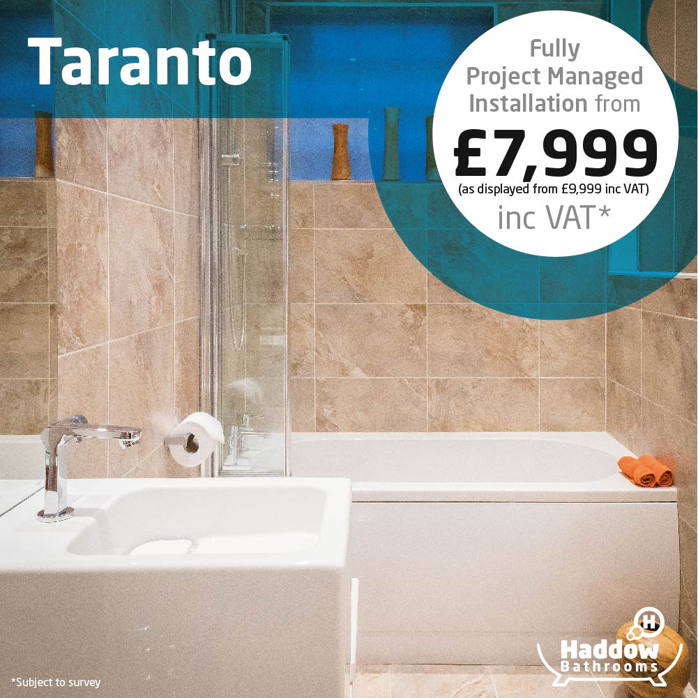 Taranto bathroom package with white Haddow Bathrooms logo bottom right. Image has a white and blue roundel that reads 'Fully project managed installation from £7,999' in grey and black text.