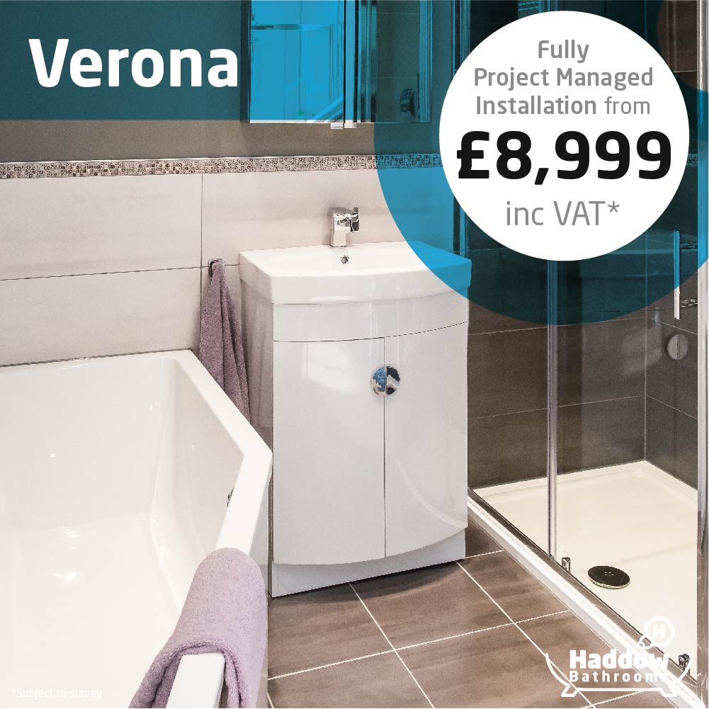 Verona bathroom package with white Haddow Bathrooms logo bottom right. Image has a white and blue roundel that reads 'Fully project managed installation from £8,999' in grey and black text.