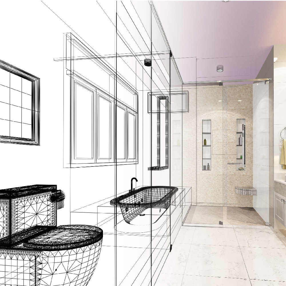 Haddow Bathrooms Design service page graphic. Artistic drawing of a bathroom
