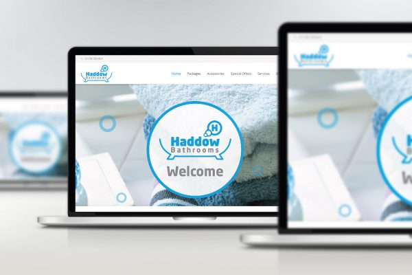Haddow Bathrooms responsive website shown on laptop