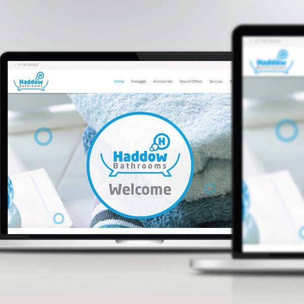 Haddow Bathrooms responsive website shown on laptop