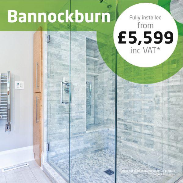 Haddow Bathrooms Bannockburn package. A clean-cut stylish shower room with minimal tiling.