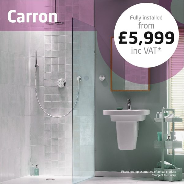 Haddow Bathrooms Carron package. Modest furniture unit with integral basin provides great storage.