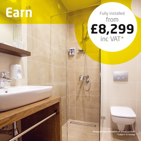 Haddow Bathrooms Earn package. Practical accessible shower room with anti-slip flooring creates an elegant room, fit for purpose.