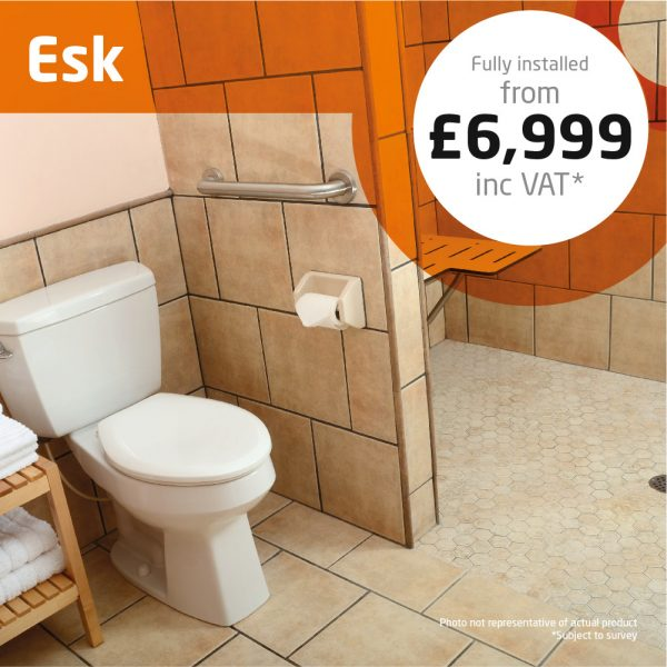 Haddow Bathrooms Esk package. For a sophisticated, low maintenance shower area, this walk-in provides no moving parts and easy access.