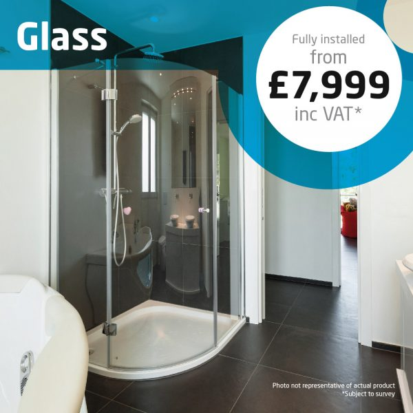 Haddow Bathrooms Glass package. For a spacious room with only a shower, stylish storage units add a touch of class and functional use of space.