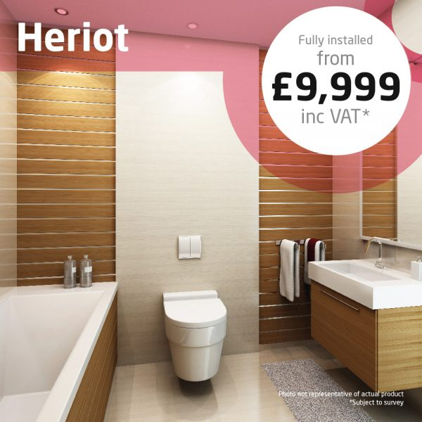 Haddow Bathrooms Heriot package. A compact bathroom with all the essentials for everyday living.