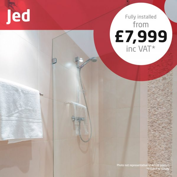 Haddow Bathrooms Jed package A typically sized en-suite with shower area and generous storage of fitted furniture.