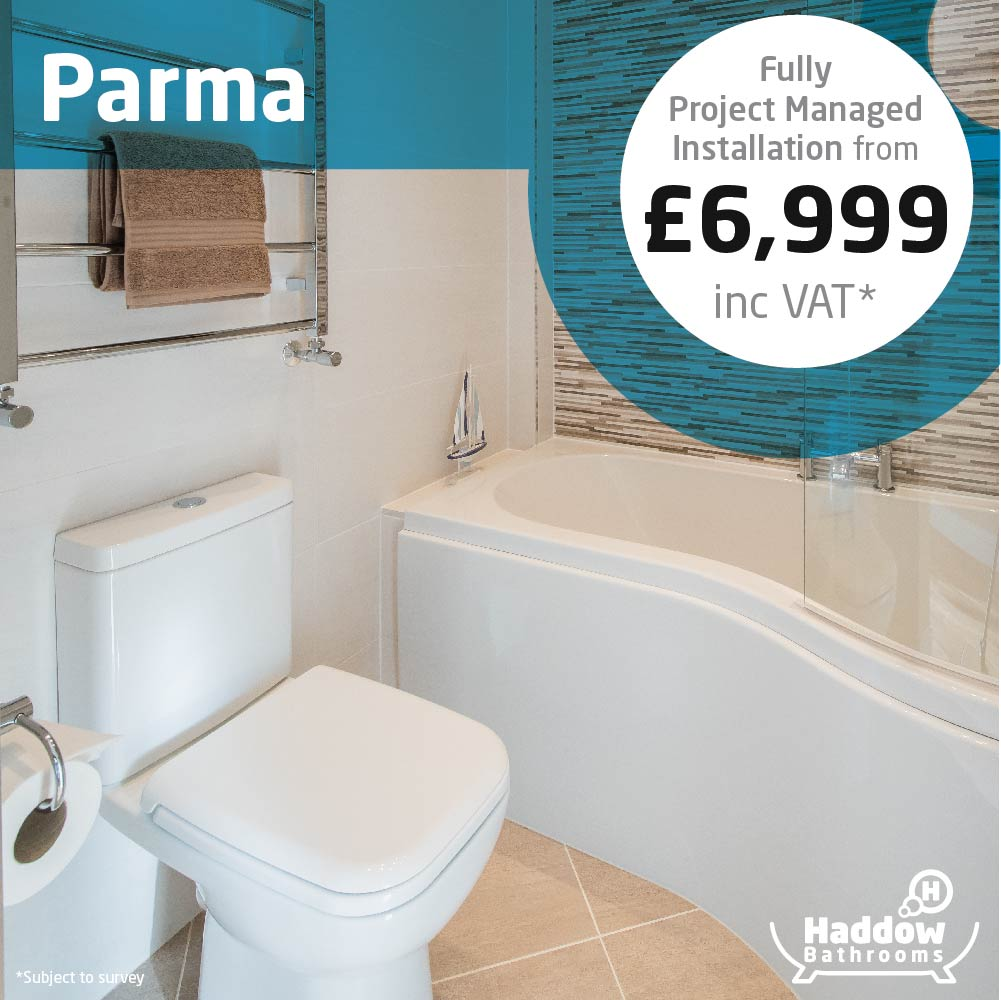 Parma bathroom package with white Haddow Bathrooms logo bottom right. Image has a white and blue roundel that reads 'Fully project managed installation from £6,999' in grey and black text.
