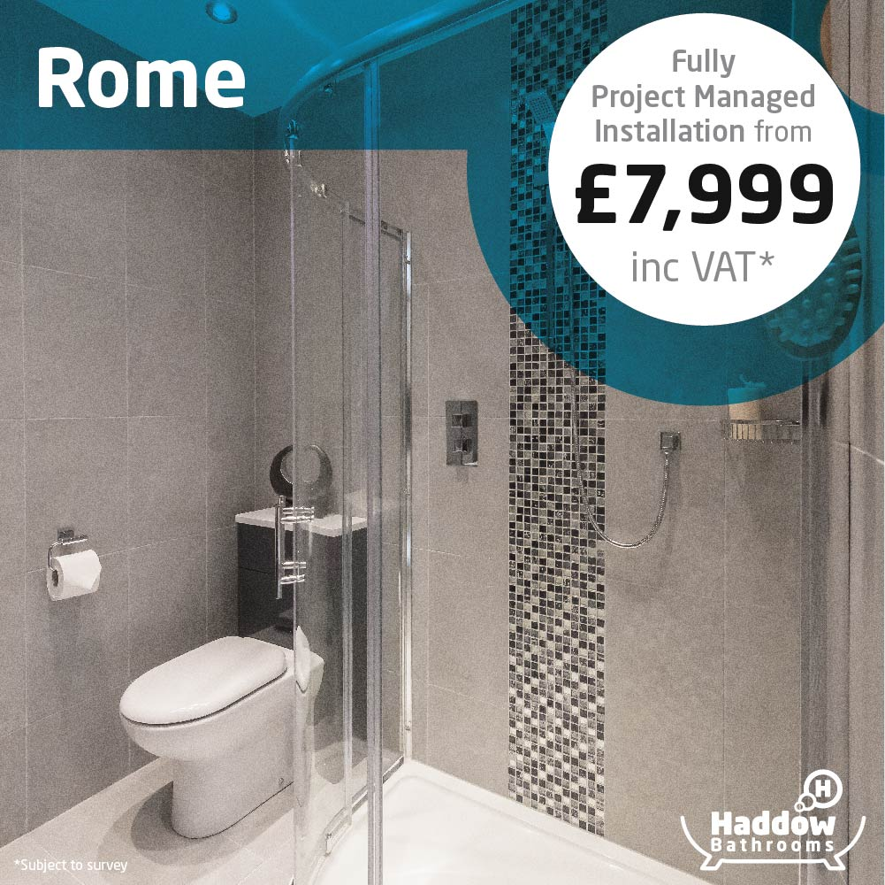 Rome bathroom package with white Haddow Bathrooms logo bottom right. Image has a white and blue roundel that reads 'Fully project managed installation from £7,999' in grey and black text.