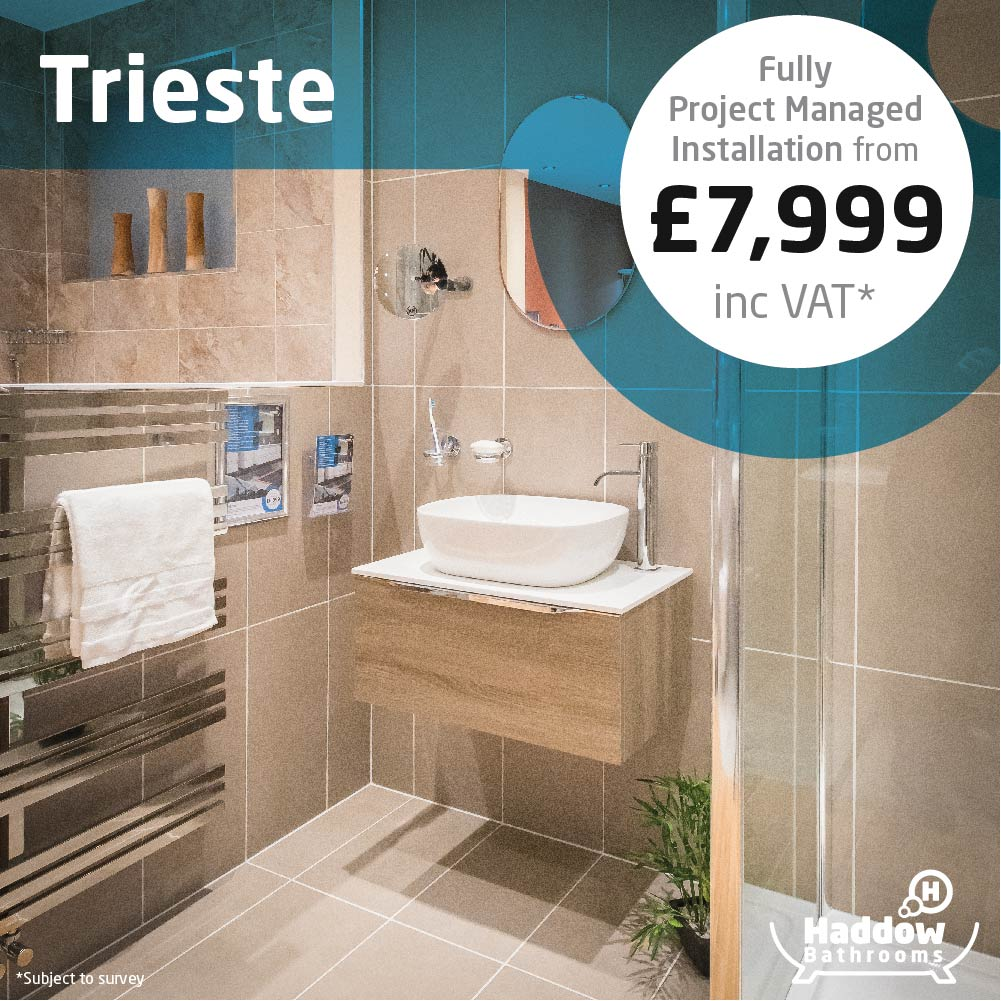 Trieste bathroom package with white Haddow Bathrooms logo bottom right. Image has a white and blue roundel that reads 'Fully project managed installation from £7,999' in grey and black text.